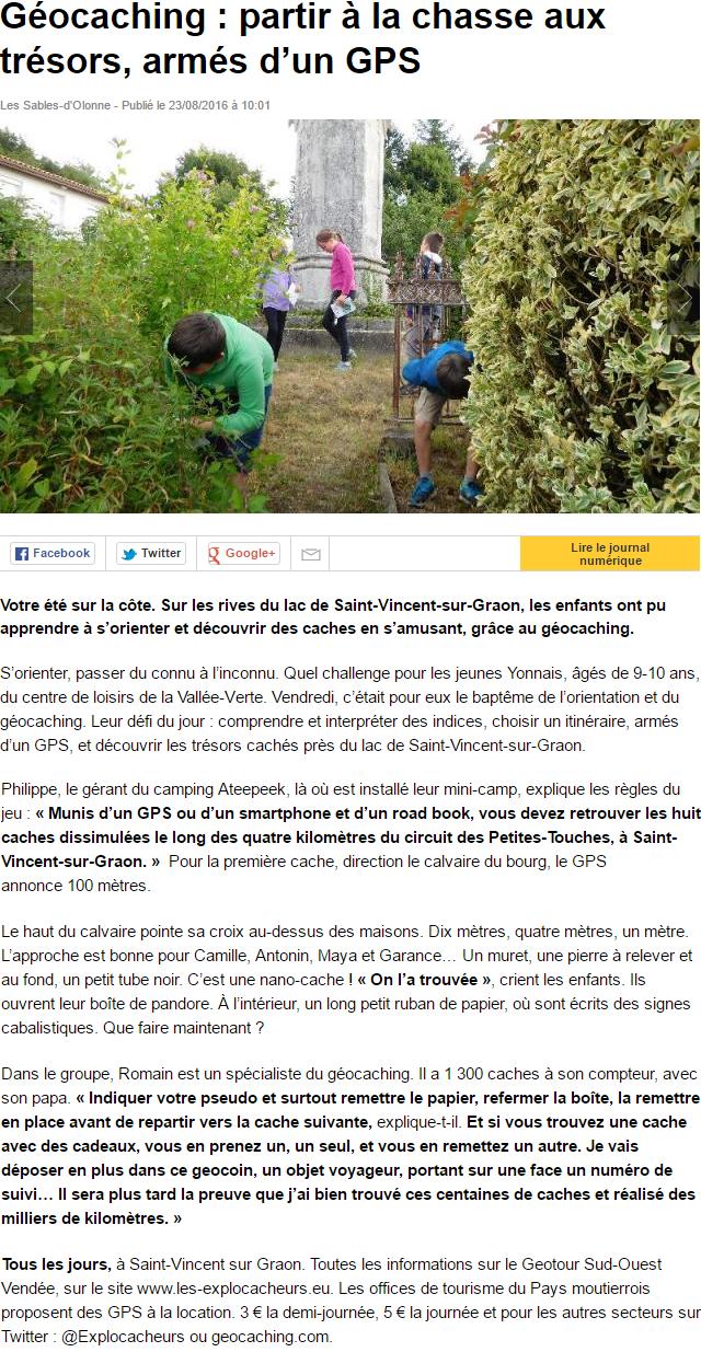 Ouest France 23 aout 2016